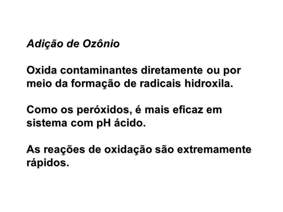 Adição de Ozônio Oxida contaminantes diretamente ou por meio da formação de radicais hidroxila.