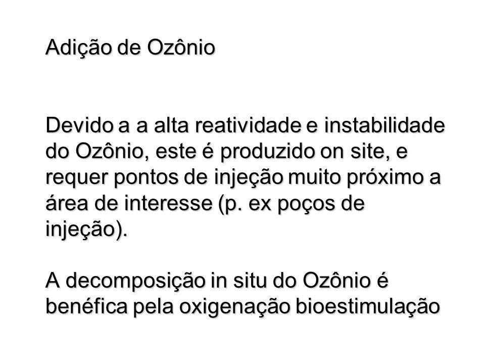 Adição de Ozônio Devido a a alta reatividade e instabilidade do Ozônio, este é produzido on site, e requer pontos de injeção muito próximo a área de interesse (p.