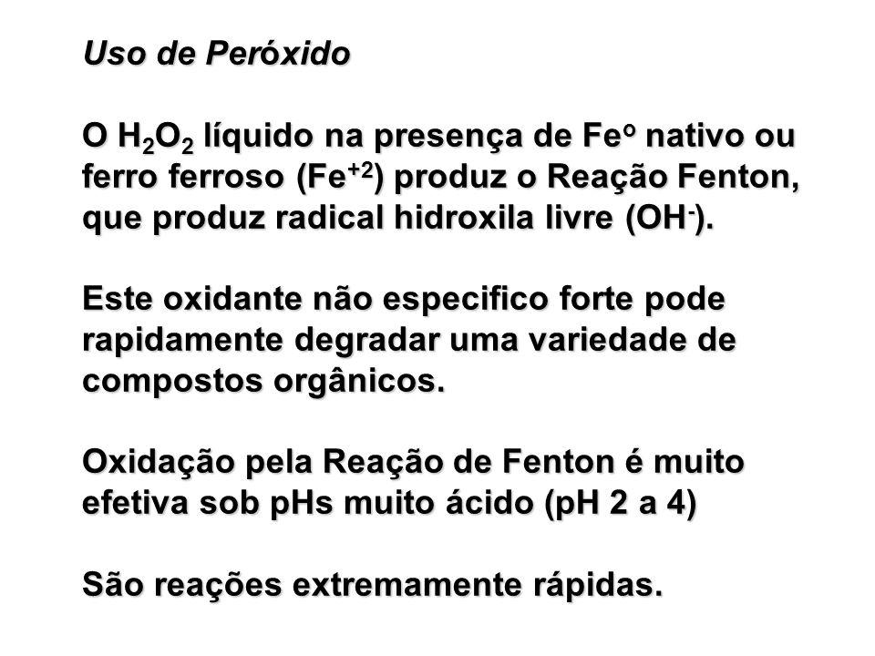 Uso de Peróxido O H2O2 líquido na presença de Feo nativo ou ferro ferroso (Fe+2) produz o Reação Fenton, que produz radical hidroxila livre (OH-).