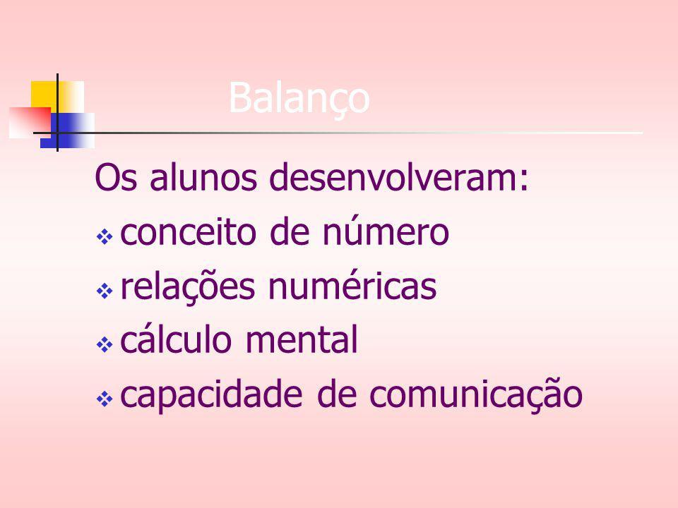 Balanço Os alunos desenvolveram: conceito de número relações numéricas