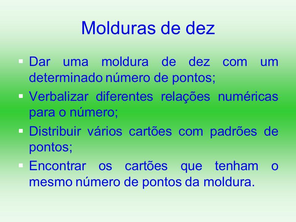 Molduras de dez Dar uma moldura de dez com um determinado número de pontos; Verbalizar diferentes relações numéricas para o número;
