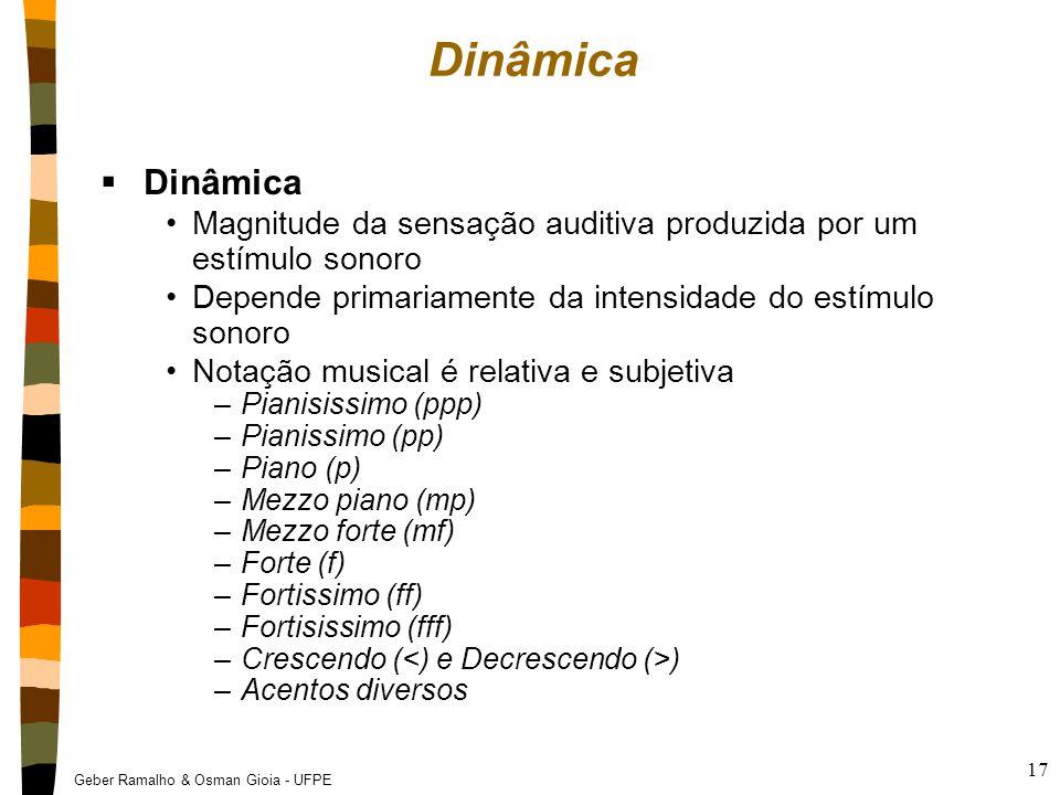 Dinâmica Dinâmica. Magnitude da sensação auditiva produzida por um estímulo sonoro. Depende primariamente da intensidade do estímulo sonoro.