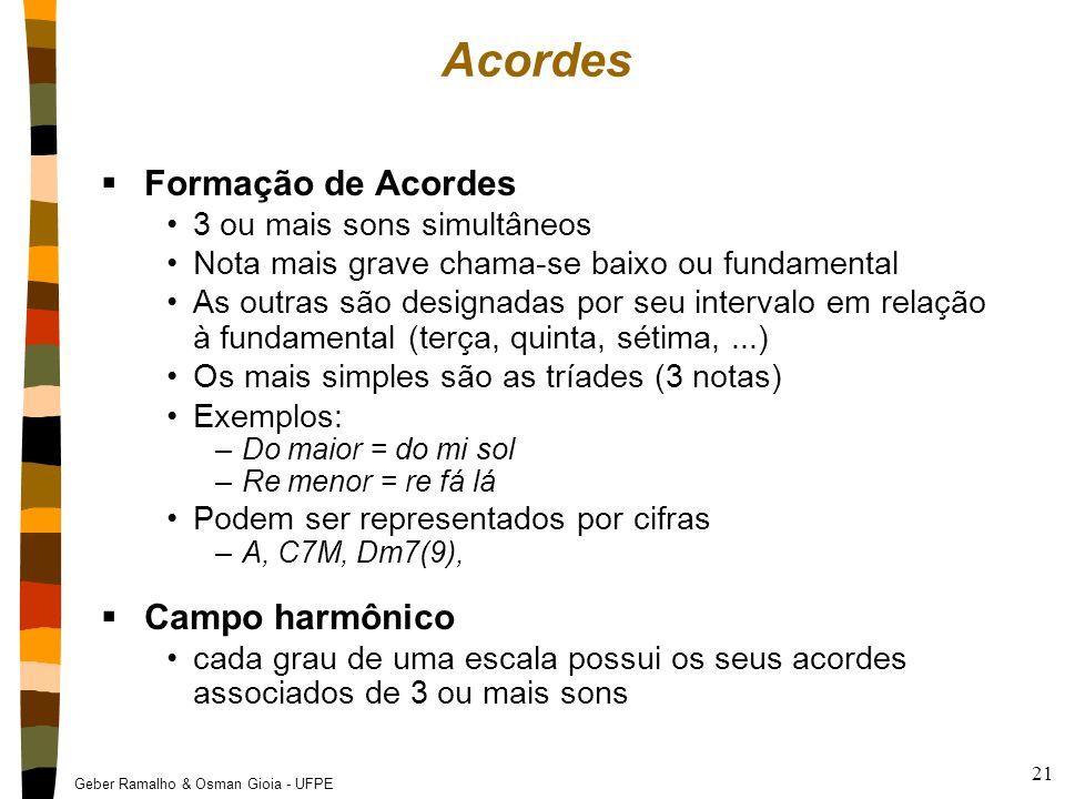 Acordes Formação de Acordes Campo harmônico 3 ou mais sons simultâneos