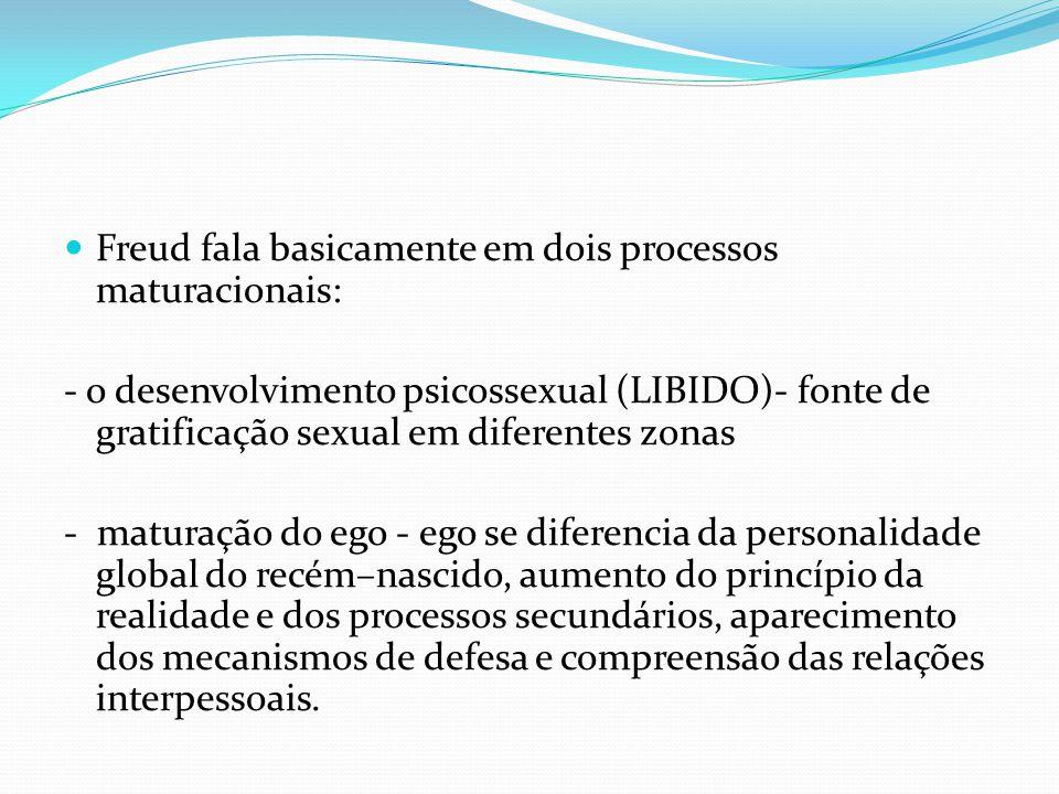 Freud fala basicamente em dois processos maturacionais: