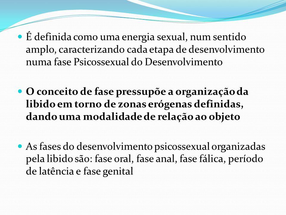 É definida como uma energia sexual, num sentido amplo, caracterizando cada etapa de desenvolvimento numa fase Psicossexual do Desenvolvimento