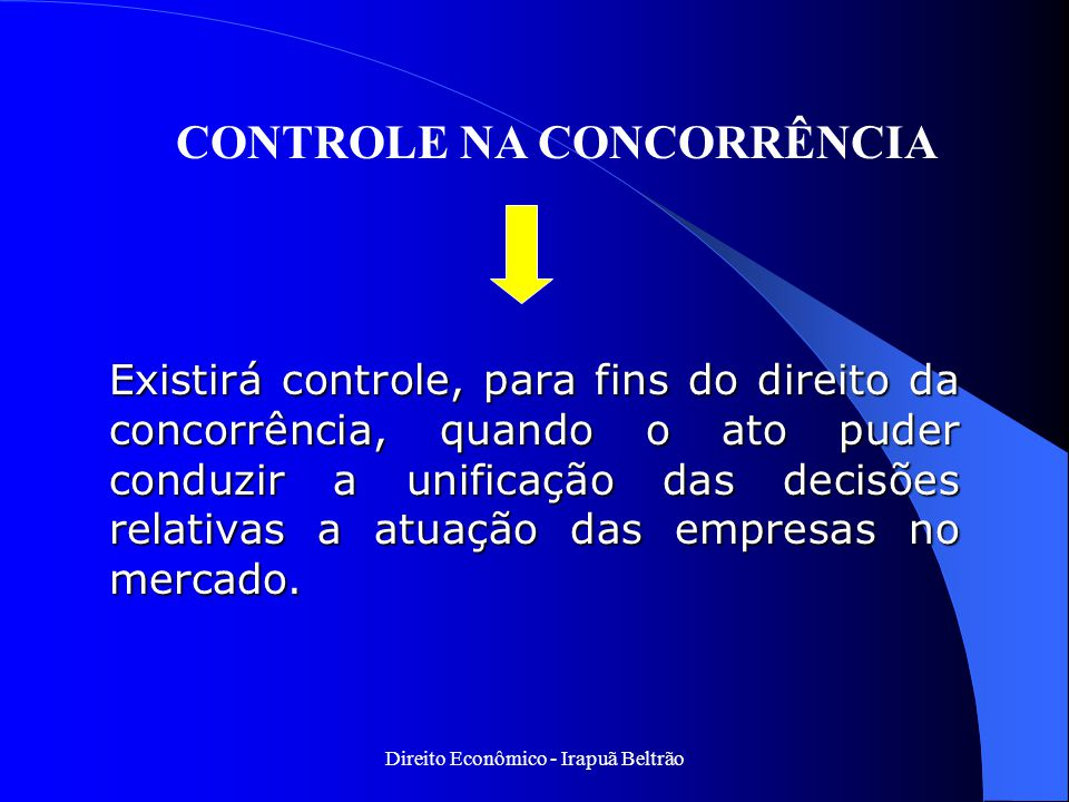 CONTROLE NA CONCORRÊNCIA