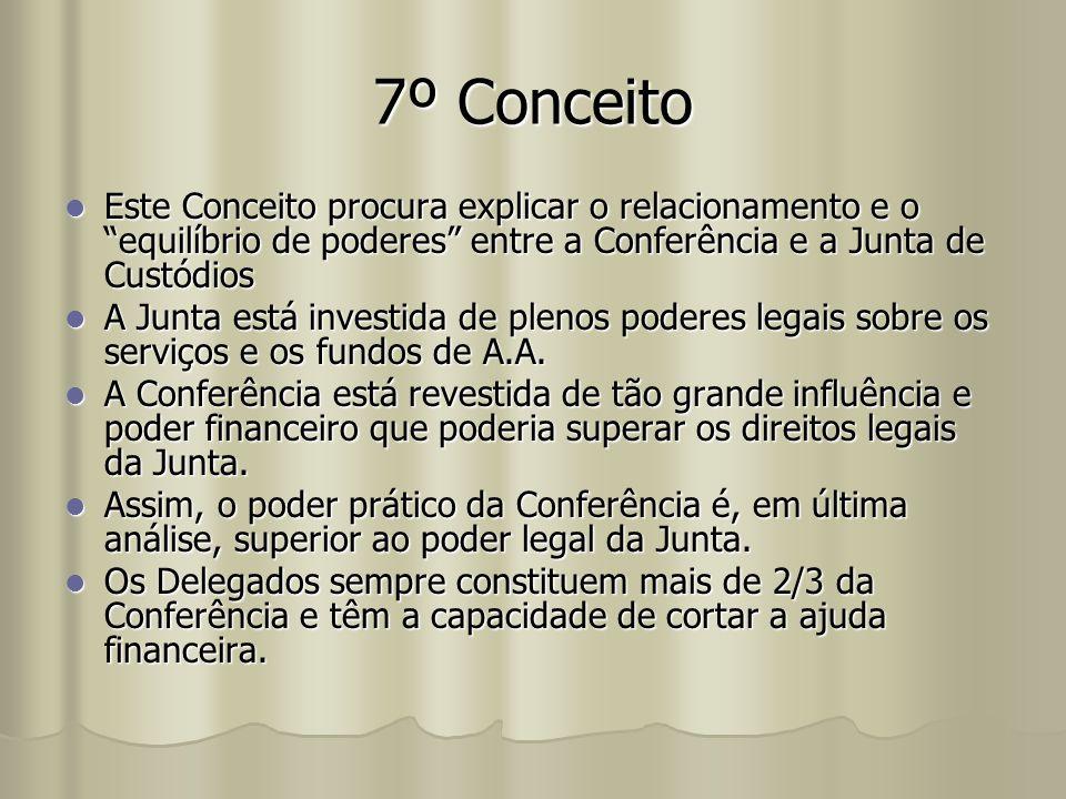 7º Conceito Este Conceito procura explicar o relacionamento e o equilíbrio de poderes entre a Conferência e a Junta de Custódios.
