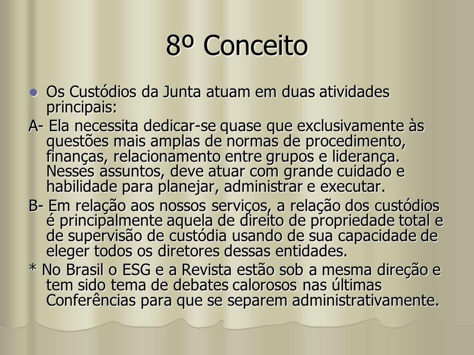 8º Conceito Os Custódios da Junta atuam em duas atividades principais: