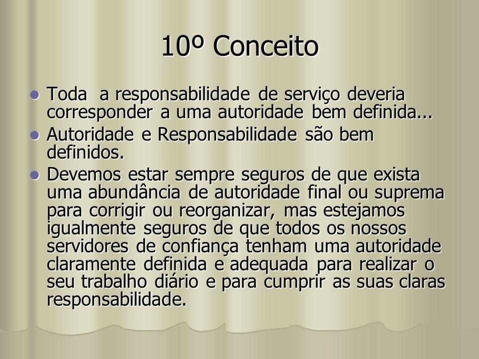 10º Conceito Toda a responsabilidade de serviço deveria corresponder a uma autoridade bem definida...