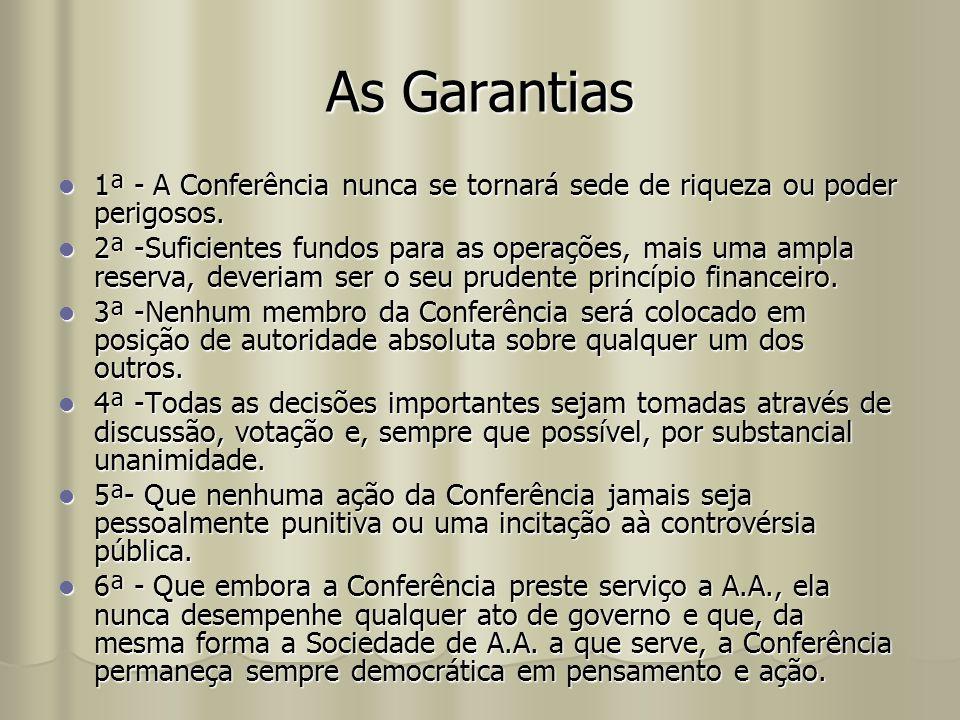 As Garantias 1ª - A Conferência nunca se tornará sede de riqueza ou poder perigosos.