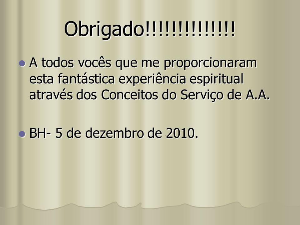 Obrigado!!!!!!!!!!!!!! A todos vocês que me proporcionaram esta fantástica experiência espiritual através dos Conceitos do Serviço de A.A.