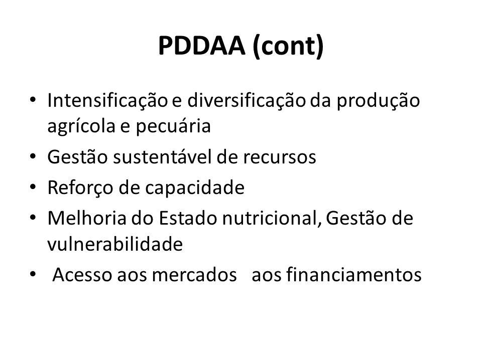 PDDAA (cont) Intensificação e diversificação da produção agrícola e pecuária. Gestão sustentável de recursos.