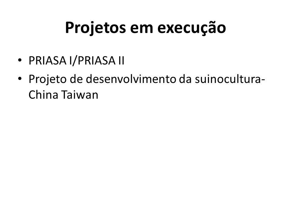 Projetos em execução PRIASA I/PRIASA II