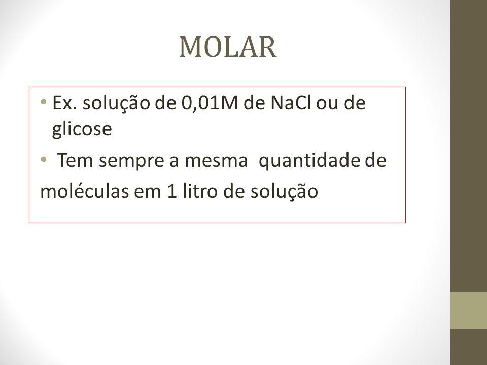 MOLAR Ex. solução de 0,01M de NaCl ou de glicose