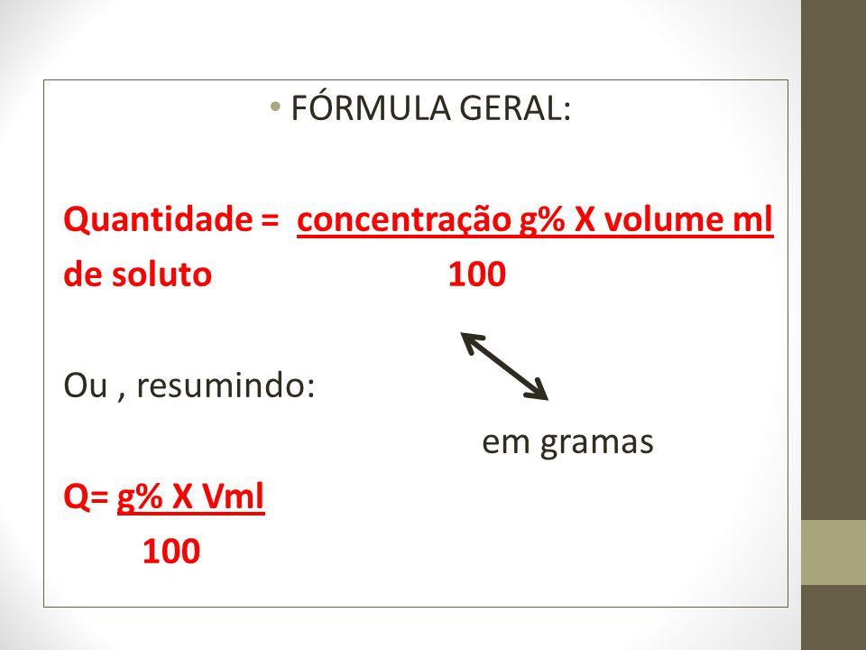 FÓRMULA GERAL: Quantidade = concentração g% X volume ml. de soluto 100.
