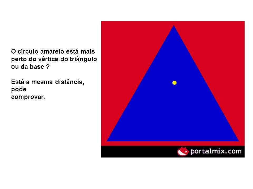 O círculo amarelo está mais perto do vértice do triângulo