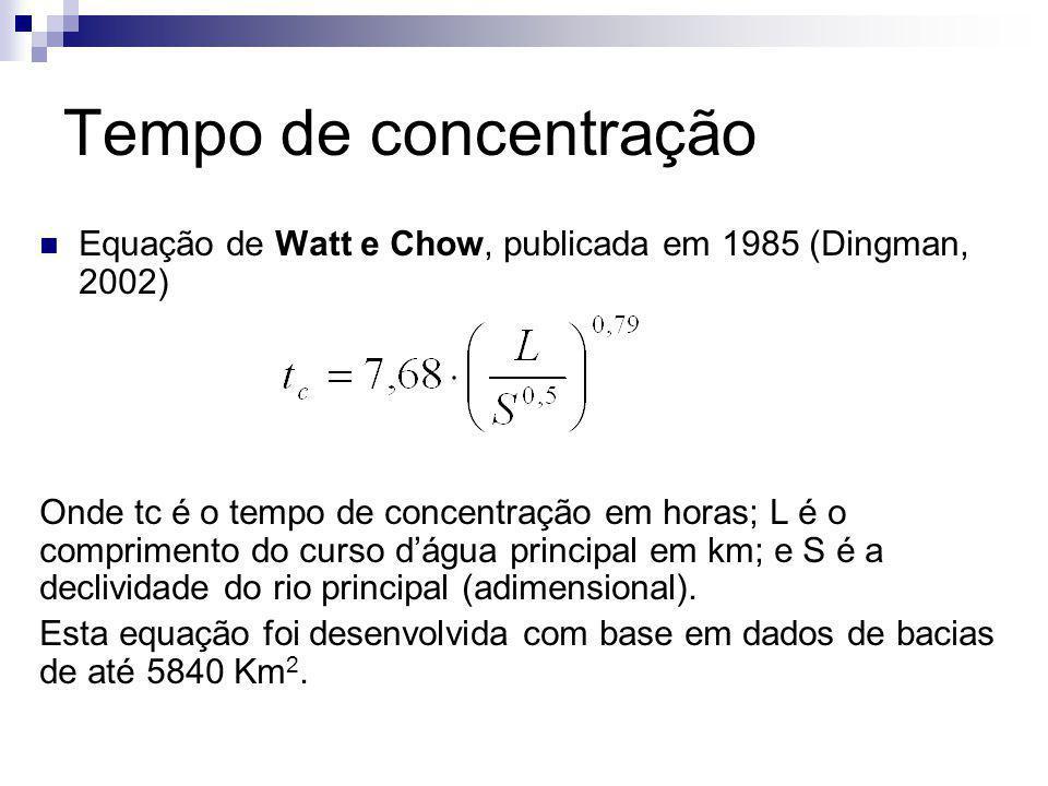 Tempo de concentração Equação de Watt e Chow, publicada em 1985 (Dingman, 2002)