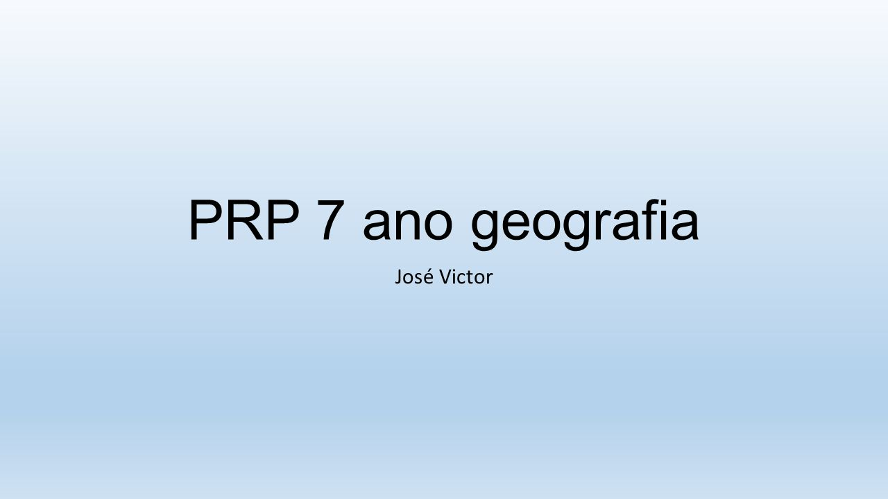 PRP 7 ano geografia José Victor