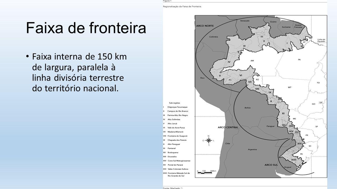 Faixa de fronteira Faixa interna de 150 km de largura, paralela à linha divisória terrestre do território nacional.