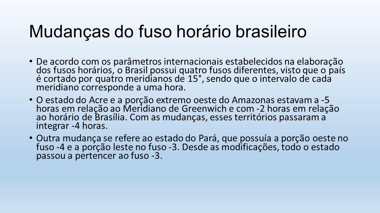 Mudanças do fuso horário brasileiro