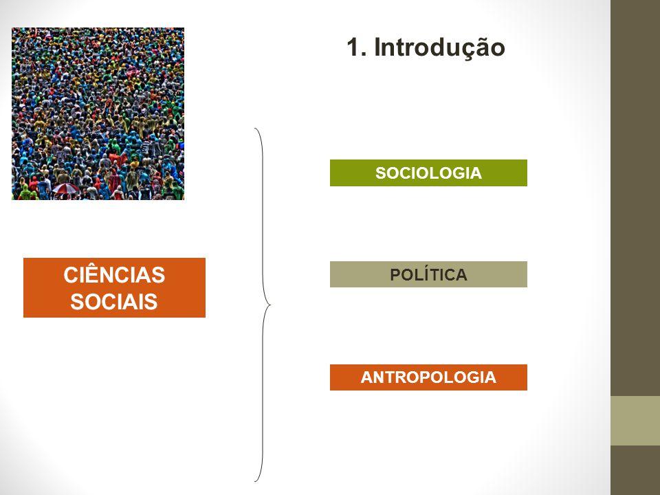 1. Introdução SOCIOLOGIA CIÊNCIAS SOCIAIS POLÍTICA ANTROPOLOGIA