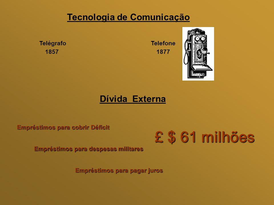 £ $ 61 milhões Tecnologia de Comunicação Dívida Externa Telégrafo 1857