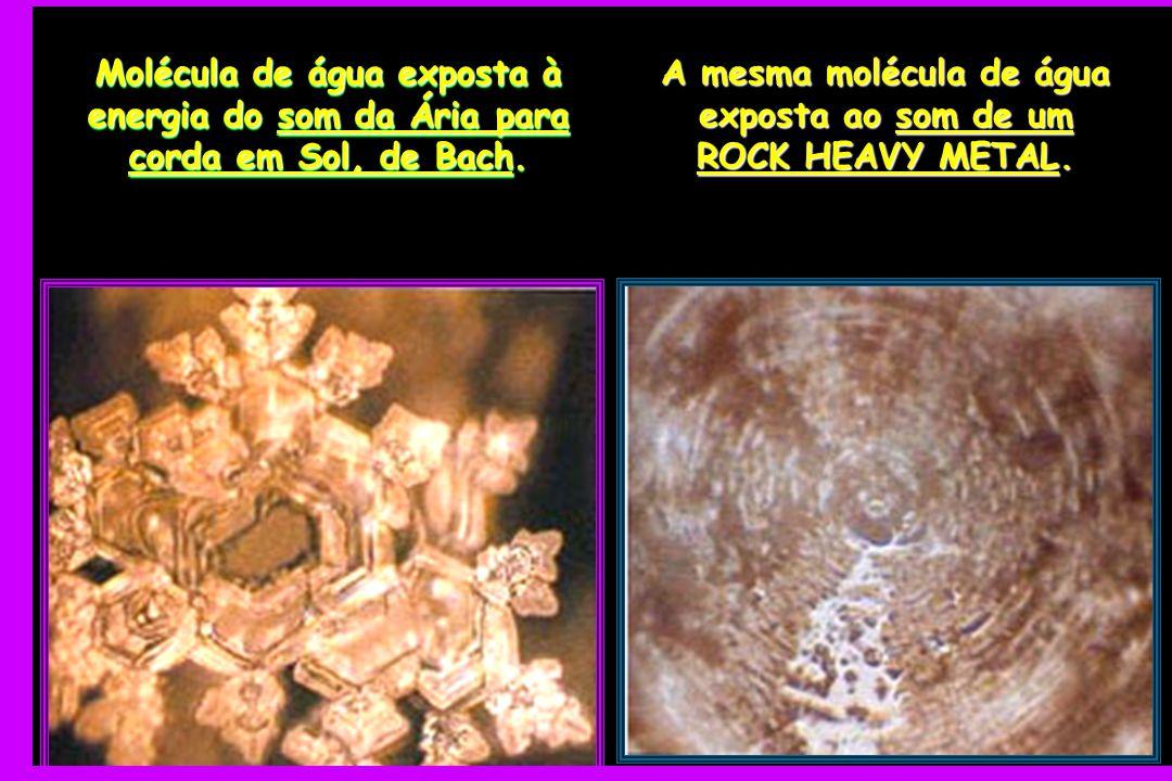 A mesma molécula de água exposta ao som de um ROCK HEAVY METAL.