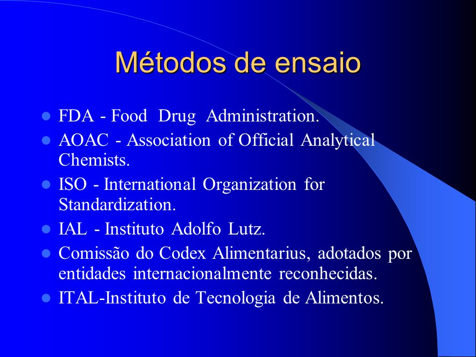 Métodos de ensaio FDA - Food Drug Administration.