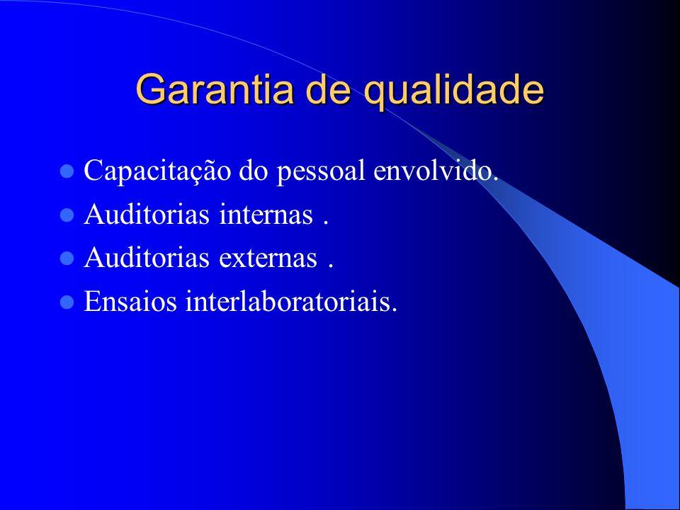 Garantia de qualidade Capacitação do pessoal envolvido.