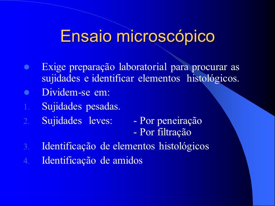 Ensaio microscópico Exige preparação laboratorial para procurar as sujidades e identificar elementos histológicos.