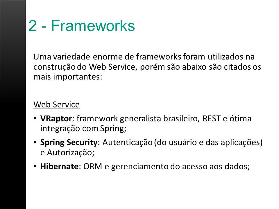 2 - Frameworks Uma variedade enorme de frameworks foram utilizados na construção do Web Service, porém são abaixo são citados os mais importantes: