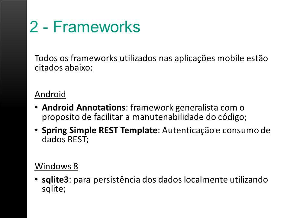 2 - Frameworks Todos os frameworks utilizados nas aplicações mobile estão citados abaixo: Android.