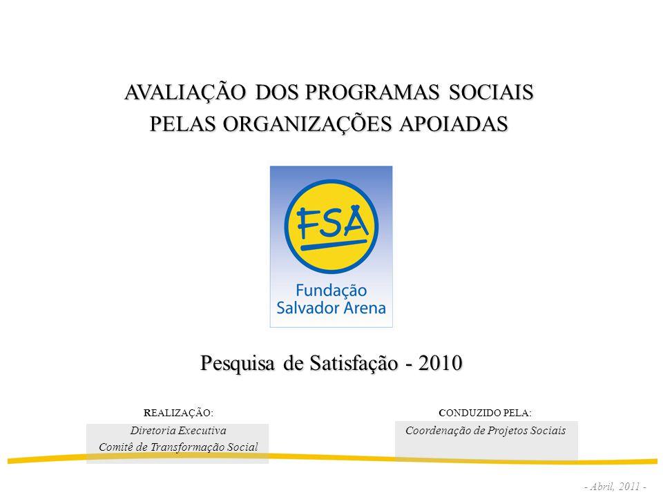 AVALIAÇÃO DOS PROGRAMAS SOCIAIS PELAS ORGANIZAÇÕES APOIADAS