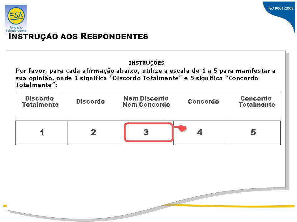  INSTRUÇÃO AOS RESPONDENTES 1 2 3 4 5 Discordo Totalmente