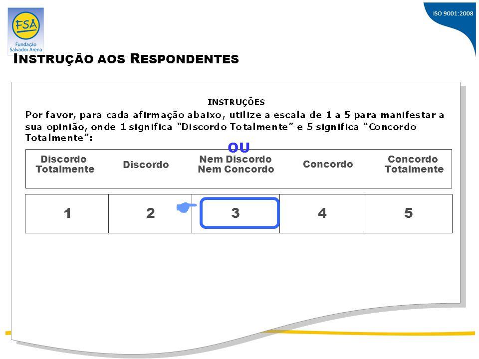  INSTRUÇÃO AOS RESPONDENTES OU 1 2 3 4 5 Discordo Totalmente