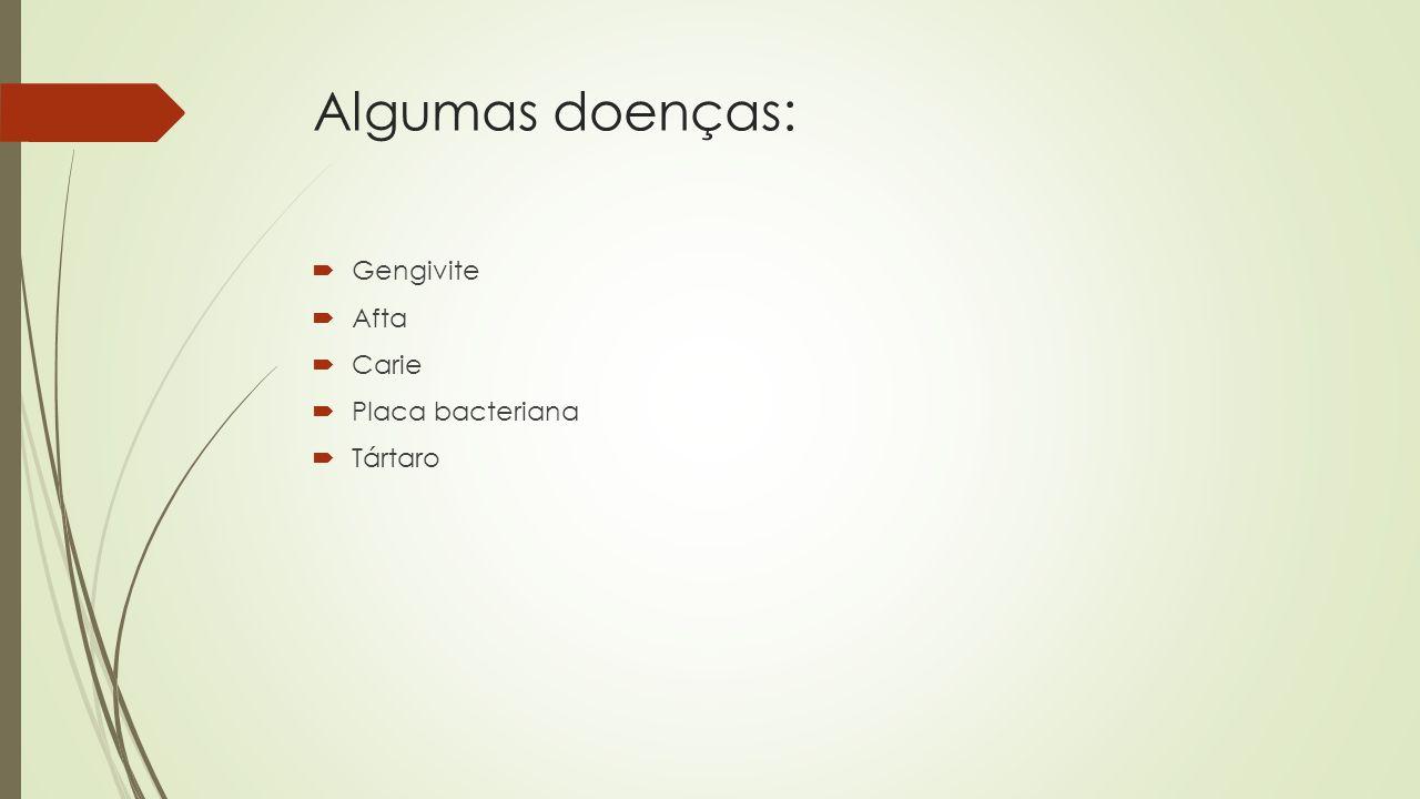 Algumas doenças: Gengivite Afta Carie Placa bacteriana Tártaro