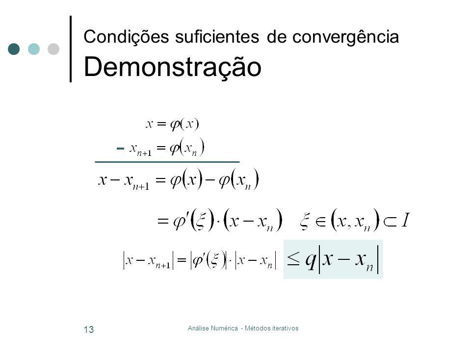 Condições suficientes de convergência Demonstração