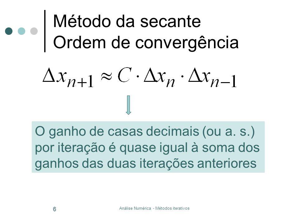 Método da secante Ordem de convergência