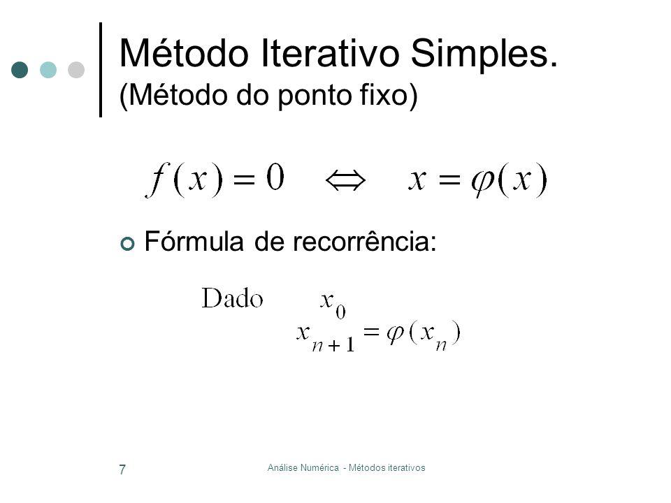 Método Iterativo Simples. (Método do ponto fixo)