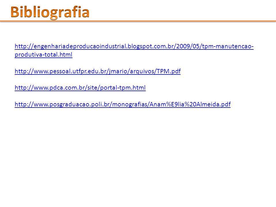 Bibliografia http://engenhariadeproducaoindustrial.blogspot.com.br/2009/05/tpm-manutencao-produtiva-total.html.