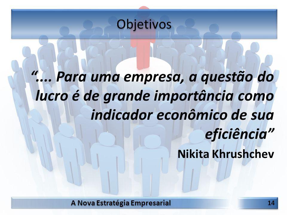 Objetivos .... Para uma empresa, a questão do lucro é de grande importância como indicador econômico de sua eficiência