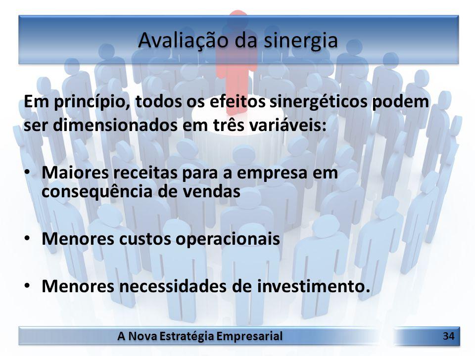 Avaliação da sinergia Em princípio, todos os efeitos sinergéticos podem. ser dimensionados em três variáveis: