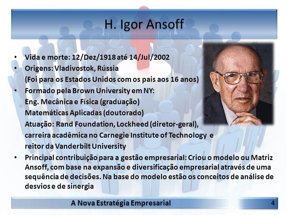 H. Igor Ansoff Vida e morte: 12/Dez/1918 até 14/Jul/2002
