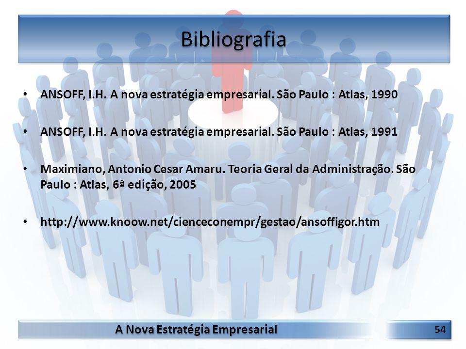 Bibliografia ANSOFF, I.H. A nova estratégia empresarial. São Paulo : Atlas, 1990.
