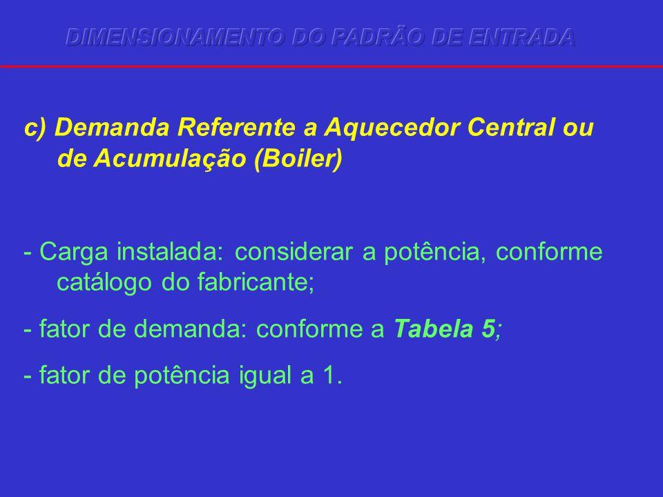 c) Demanda Referente a Aquecedor Central ou de Acumulação (Boiler)