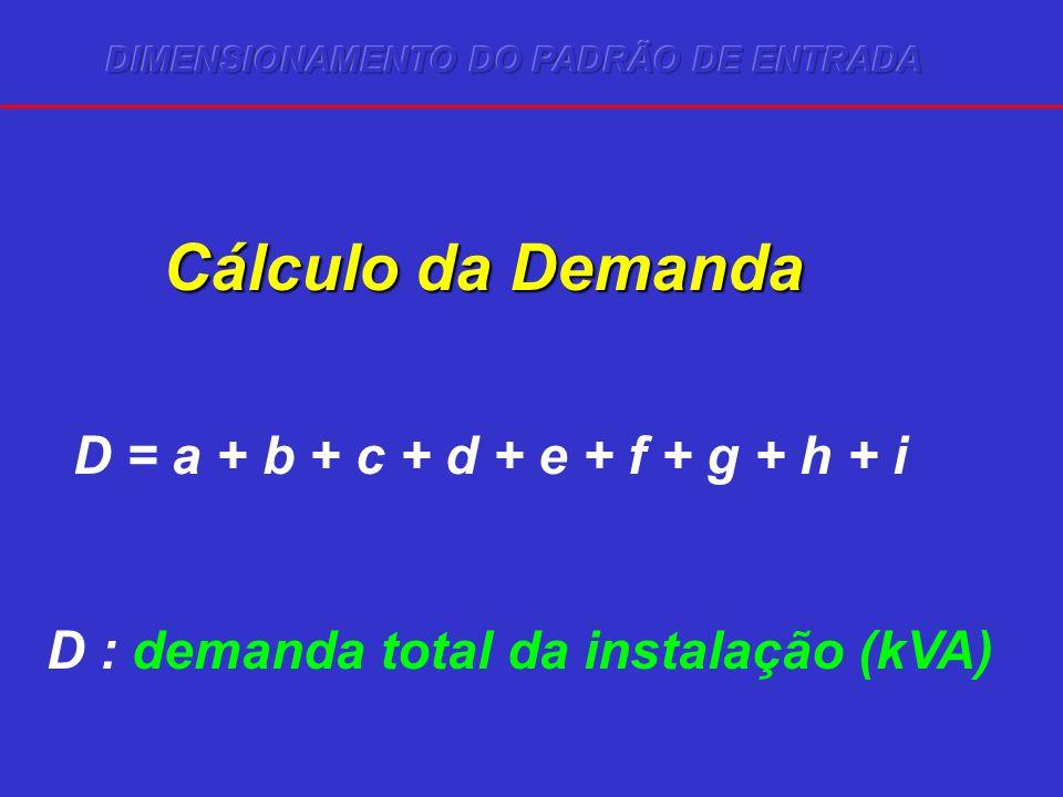 Cálculo da Demanda D = a + b + c + d + e + f + g + h + i