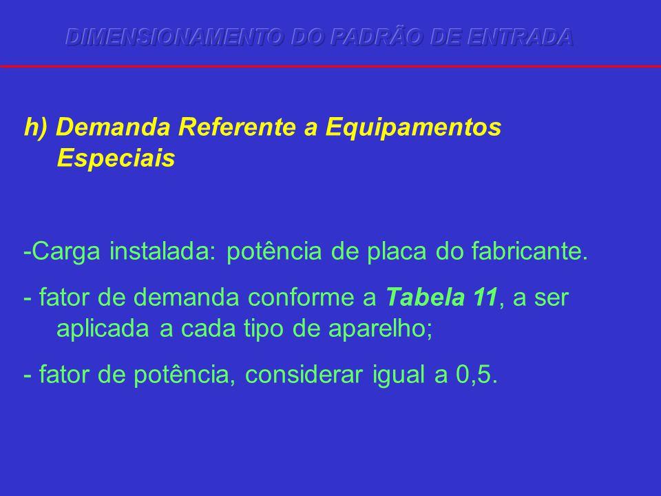 h) Demanda Referente a Equipamentos Especiais