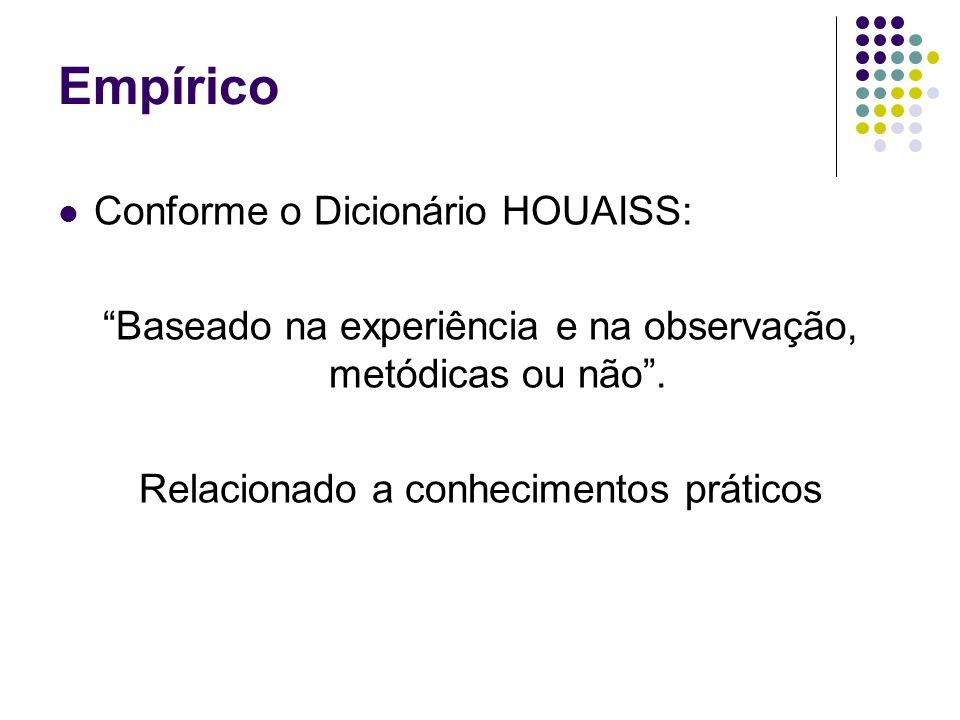 Empírico Conforme o Dicionário HOUAISS: