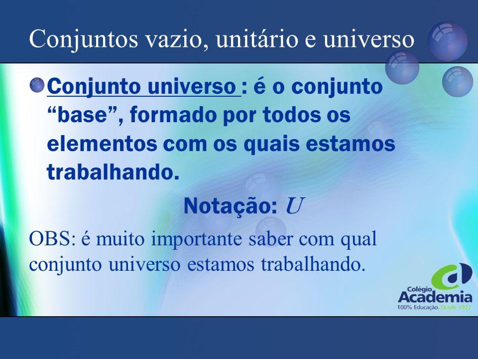 Conjuntos vazio, unitário e universo