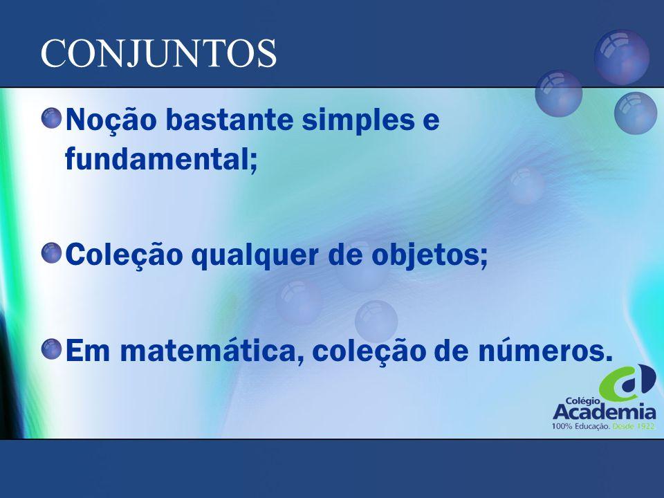 CONJUNTOS Noção bastante simples e fundamental;